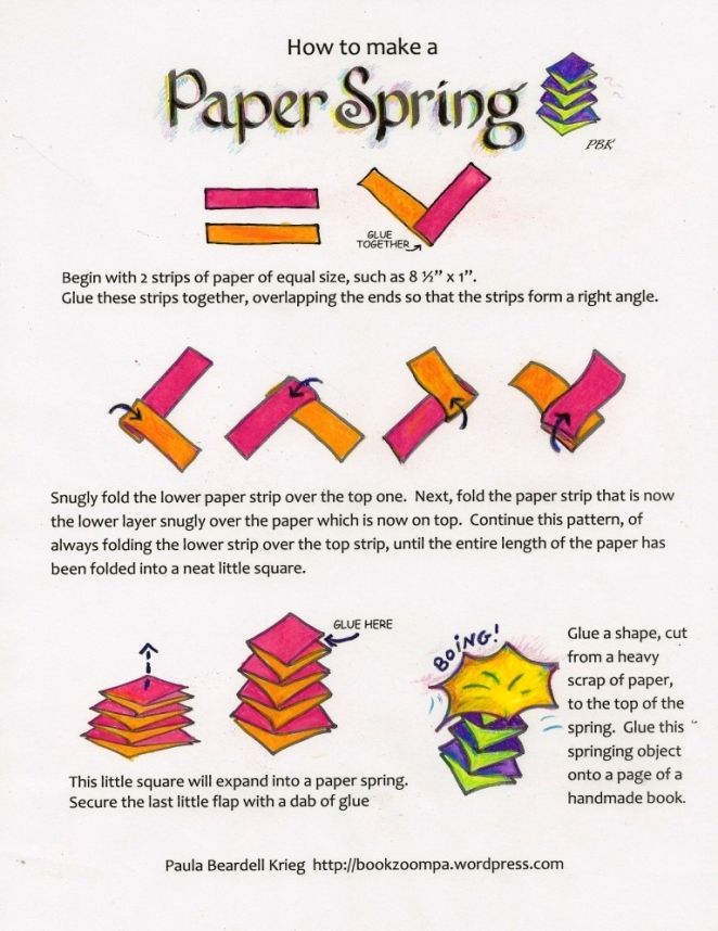 Paper Spring to use in Book Making with Children