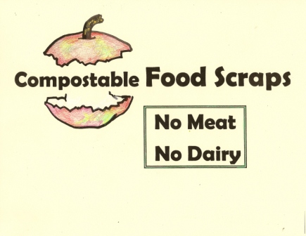 recycling Sign for Compostable Food Scraps 8 1/2 x 11