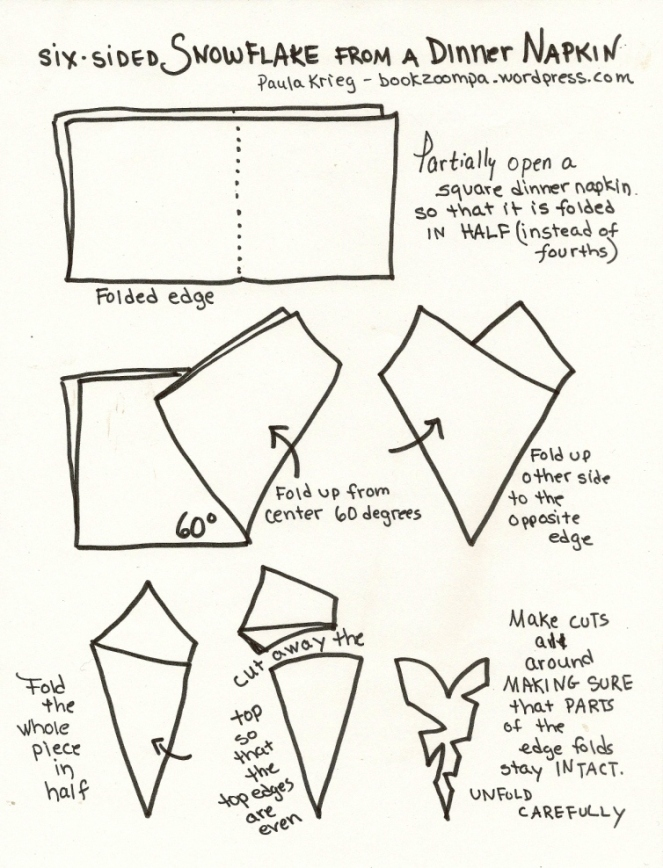 how to make a six sided snowflake from a dinner napkin