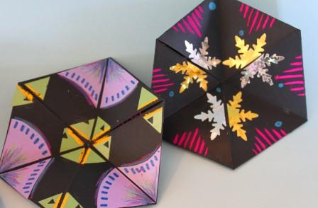 Hexagon Flexagon with diamonds and snowflakes