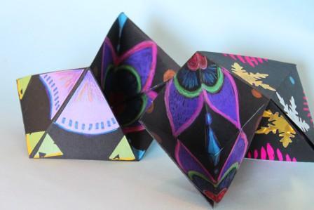 Hexagon Flexagons, in mid-flex