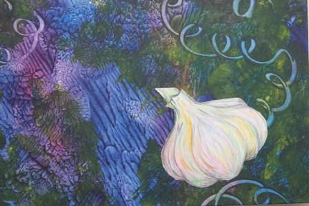 Garlic on Paste Paper by Paula Krieg