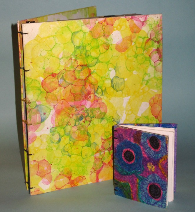 Bubble Marbling and Crayon Batik Book Covers