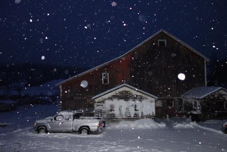 Snowing tonight here in New York , near the Vermont Border