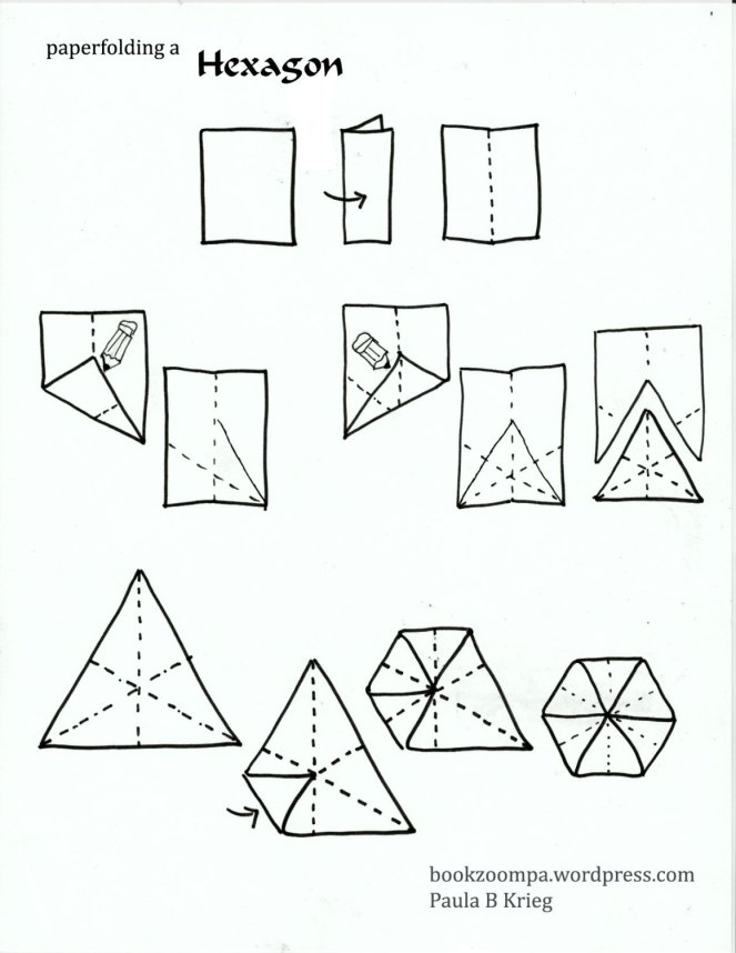 Silently folding a hexagon drawn by Paula Krieg