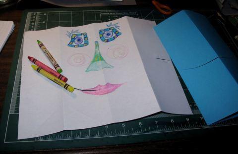 crayon puppet in progress