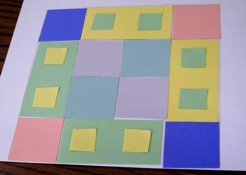 Making Designs starting with  Domino shape, which are cut in half to make squares, cut in half to make scaled down domino, cut in half again to make scaled down square AKA baby squares