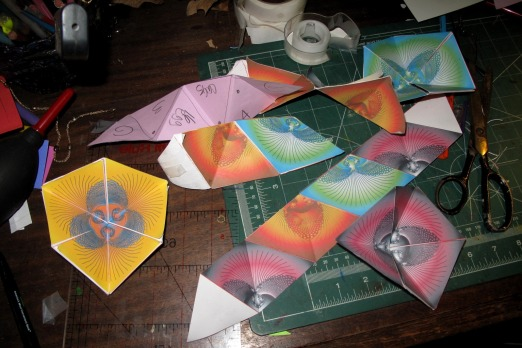 Hexaflexagons in progress