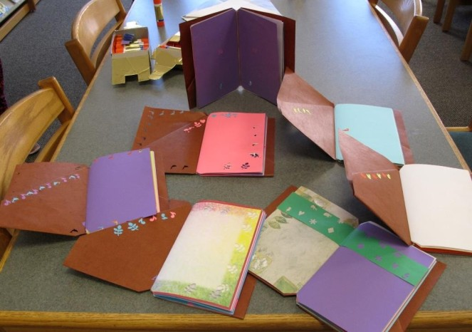 A selection of finished books by third graders
