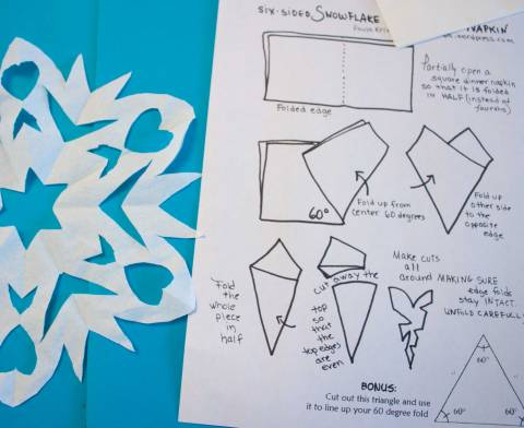 How to make a Snowflake with Six-Sided Symmetry, with 60 degree triangle guide included.