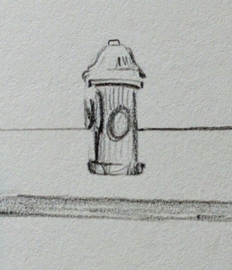 close up of Fire hydrant from the preivious drawing