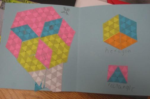 Bird on the left, hexagon & rectangle on the right