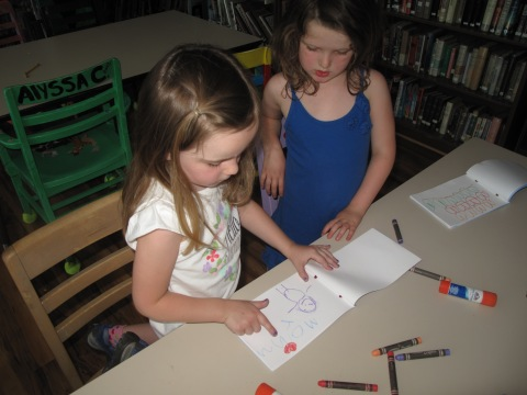 The Pre-K kids immediately started to fill their books with drawings,and showing their creatations to each other.