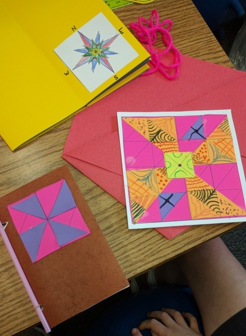 Quilting square, journal and compass rose