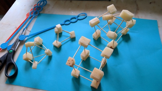 Shapes made with cubed potatoes and toothpicks