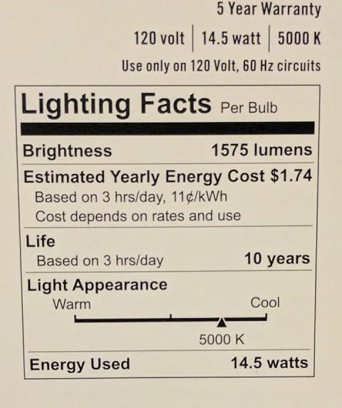LED light bulb facts, 5000k