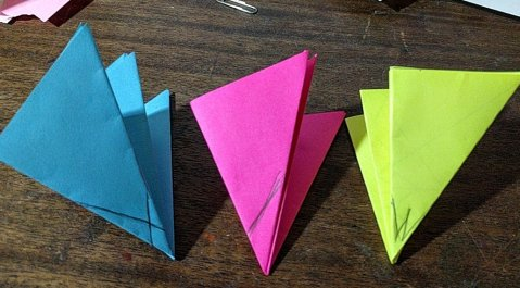 36-54-90 triangles, with cutting lines on their tips