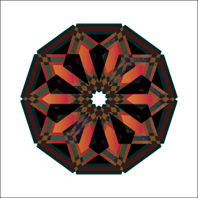 Pentagons converging in color