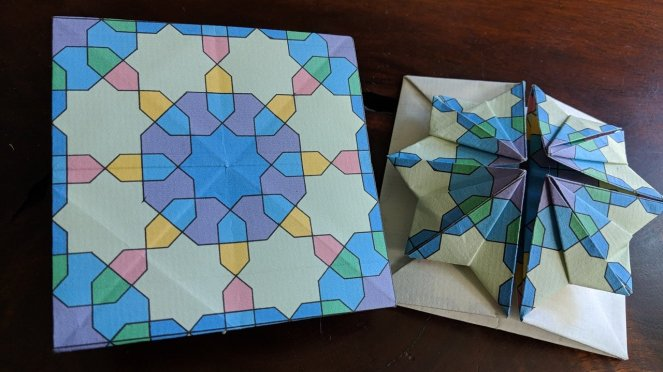 Flower top origami box for Chinese Thread Book