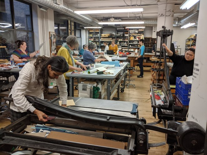 In the book arts studio at The Center for Book Arts