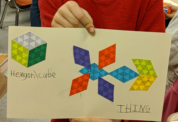 Hexagon, Cube and Thing made from equilateral triangles